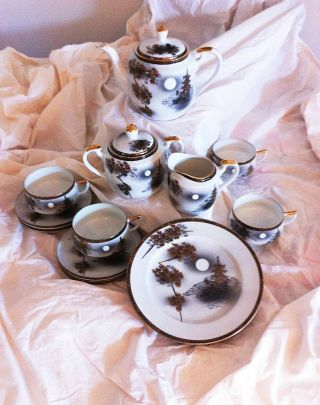 Japanese Porcelain Kutani 17 Pc Tea Set Lithophane Over 80 Yrs Old photo