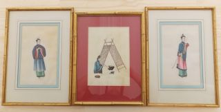 3 - 19th C.  Chinese Export Watercolor Painting On Rice Paper - Framed photo