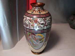 Bright And Colorful Japanese Cloisonne Panel Vase - Phoenix And Dragons photo