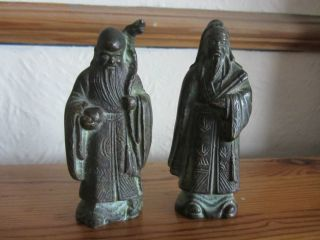 2 Antique 18th/19th Century Chinese Carved Bronze Miniature Figures Sages photo