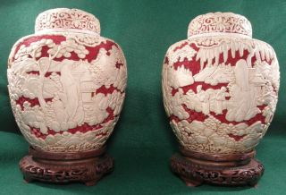 Pair Of Antique Chinese Red & White Cinnabar 10