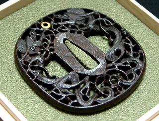 5591 Edo Samurai Sword Nanban Karakuri Sukashi Tamaoi Soryu Zu Excellent Tsuba photo