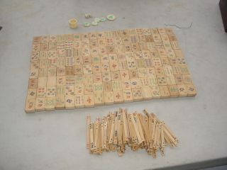 Rare Antique Mahjong Set Early Dovetailed Box 144 Pcs.  + Sticks Ect.  N/r photo