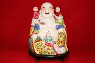 Chinese Famille Rose Buddha With 5 Children,  Smiling,  And Happy photo