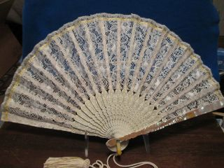 Vintage Japanese Fan Ivory Lace Bamboo Mother Of Pearl & Bone photo
