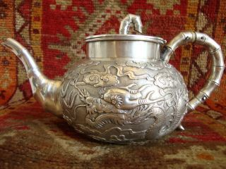 C19th Chinese Solid Silver Dragon Design Teapot photo