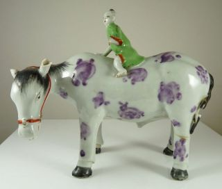 Antique Chinese Porcelain Figure Of Horse & Rider photo