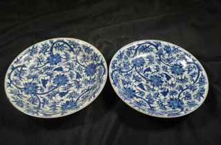 A Pair Chinese Porcelain Blue And White Flower Plates photo