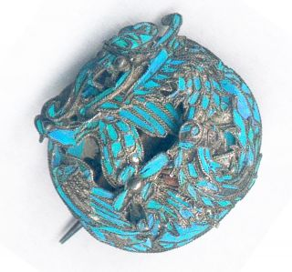 Beauty Antique Silver Chinese Pin With Kingfisher Feathers,  Dragon photo