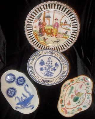 4 Antique Chinese Porcelain Plates & Dish Ca 18 - 1900 ' S photo