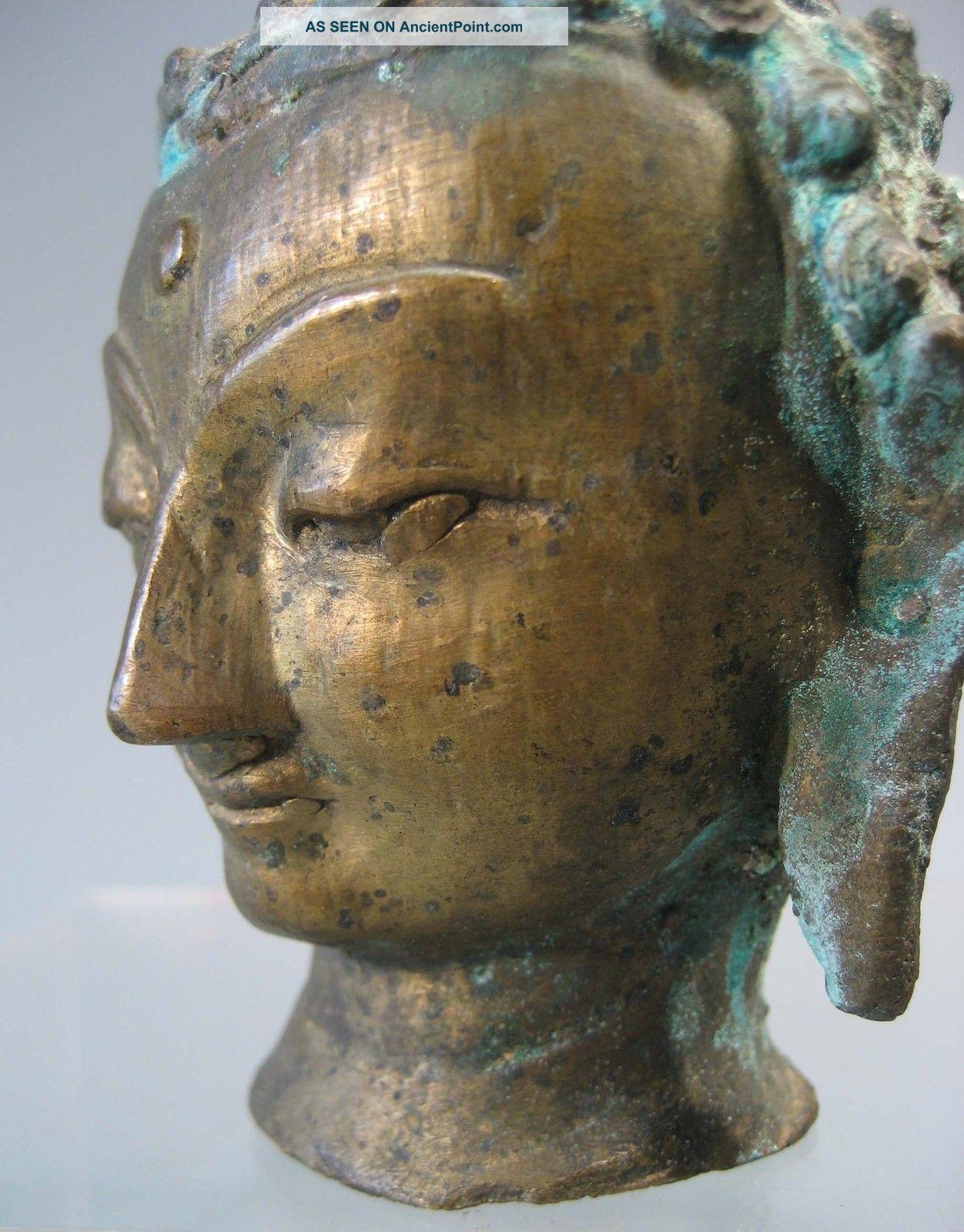 Sino Tibetan? Northern India? Himalayan Brass Head Of Buddha Ca.  Early 20th C. Buddha photo