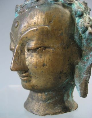 Sino Tibetan? Northern India? Himalayan Brass Head Of Buddha Ca.  Early 20th C. photo