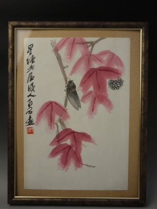 Chinese Hanging Picture Pape / Frame Cicada And Flower photo