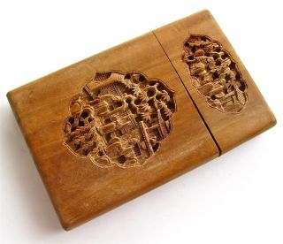 Antique/vintage Chinese Finely Carved Sandalwood? Card Case ~ photo