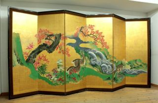 Wajin B100 Japanese Antique Byobu Folding Screen Autumn Leaves & Deers 18c photo