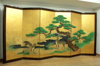 Wajin B101 Japanese Antique Byobu Folding Screen Pine Tree & Deers 18c photo