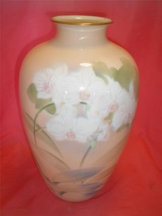 Vintage Japanese Tall Fukagawa Porcelian Vase Floral Orchids Signed Gorgeous photo