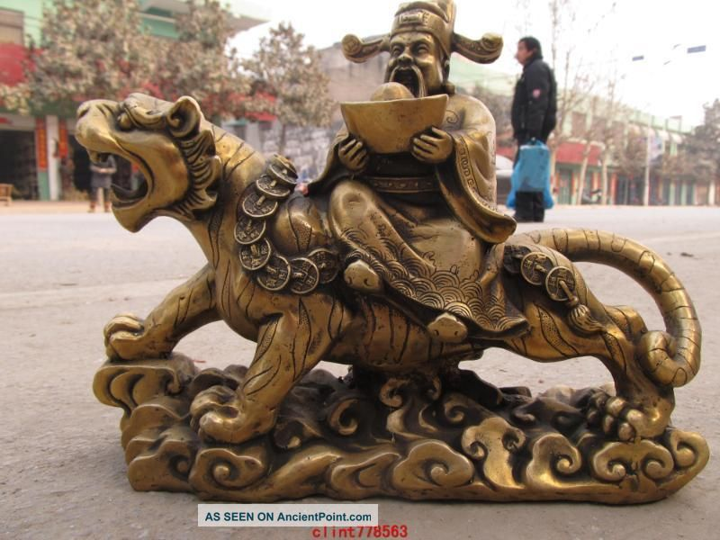 Tibetan Brass Valiant Money Plutus Ride On Tiger Statue Reproductions photo