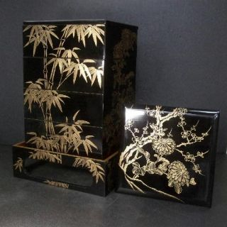 F136: Japanese Old Lacquered Tiered Food Boxes Jubako With Great Chinkin - Makie photo