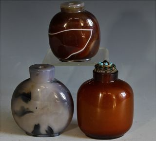 Estate Coll.  3 Chinese Carved Agate Stone Master Snuff Bottles photo