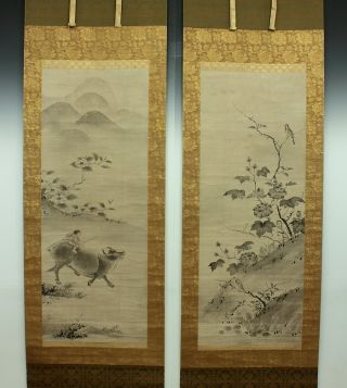 Wajin1146 Japan Hanging Scroll Kanō Motonobu Flower & Bird photo