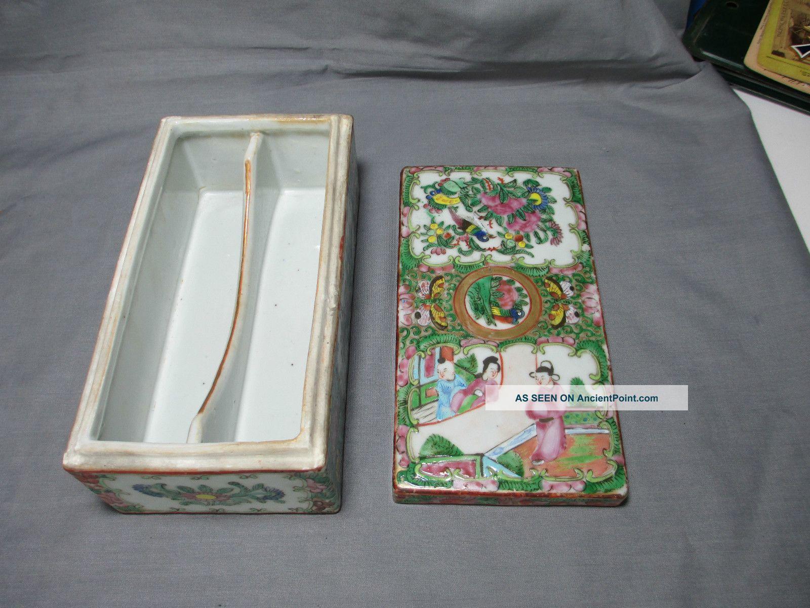 19th Century Famille Rose Medallion Brush/pen Box Boxes photo