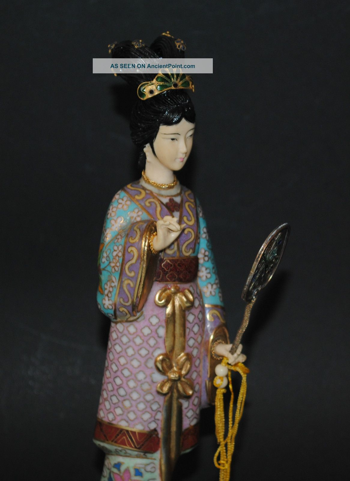 Antique Chinese Cloisonne Enamel Carved Ox Bone Face Geisha Girl Figure With Fan