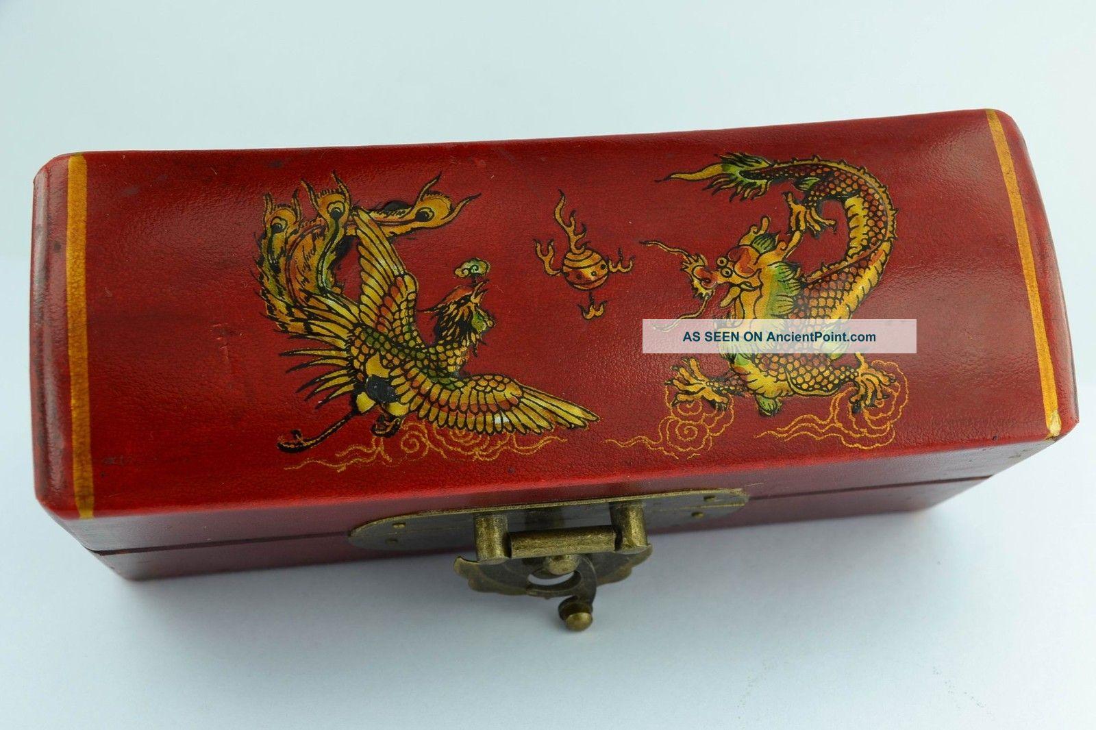 Asian Old Collectibles Decorated Handwork Wood Dragon Phoenix Jewel Box Aaaaa Boxes photo
