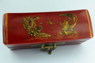 Asian Old Collectibles Decorated Handwork Wood Dragon Phoenix Jewel Box Aaaaa photo