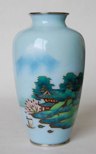 Quality Japanese Cloisonne Vase With Wireless Mount Fuji photo