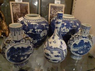 5 Peices Collection:2 Chinese Blue And White Ginger Jars + 3 Similar Spill Vases photo