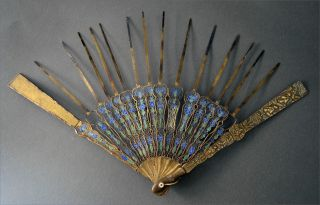 Rare Cantonese Chinese Solid Silver Enamel Fan Guards And Sticks photo
