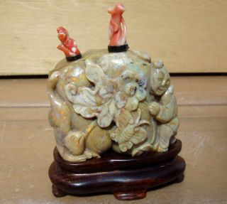 Antique 19c Double Gourd Asian Chinese Opal Coral Snuff Bottle photo