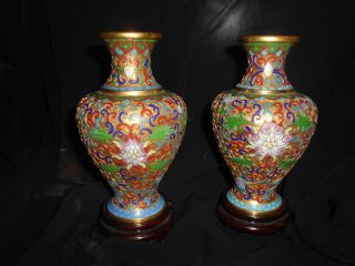 Antique Pair Chinese Champleve Cloisonne Enamel Gilded Brass Vases,  Cherry Stand photo