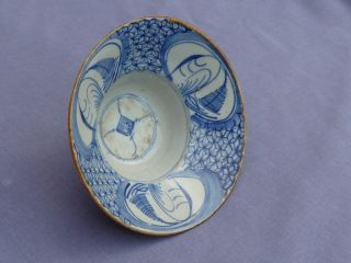 Blue & White Chinese Ogee Bowl Qing Dynasty photo