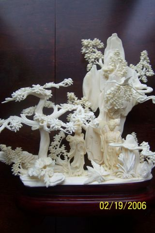 Large Monumental Antique/vintage Carved Faux Ivory Ox Bone Sculpture Statue photo