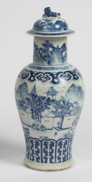 A Large Chinese Blue And White Baluster Vase,  48cm High photo