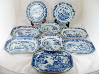 9 Pieces Collection Of 18th Century Chinese Blue And White Dishes photo