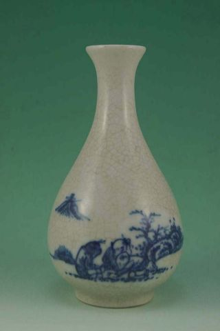 Rare Chinese Blue&white Porcelain,  Crackle Glaze Vase photo