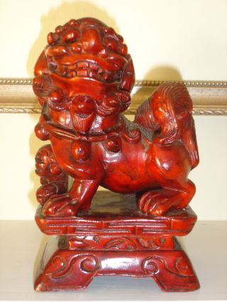 Chinese Red Wood Foo Dog photo