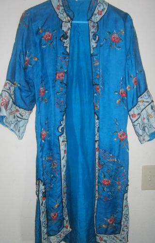 Traditional 20th Century Chinese Hand Embroidered Fine Silk Kimono Robe Size M photo