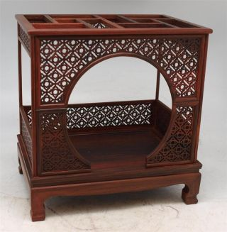 Chinese Miniature Carved Rosewood Bed - Apprentice Furniture - Oriental photo