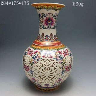 Set 2 Pieces Hollowed Chinese Rose Colorful Porcelain Vases Nr photo