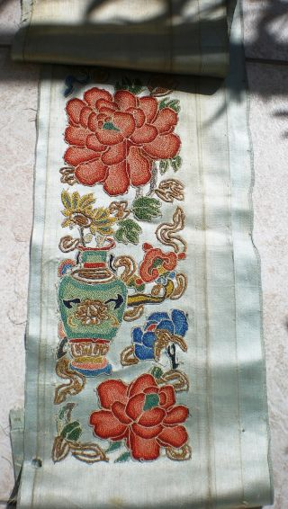 Antique Old Silk Panel Chinese China Embroidery Hand Made Decorative Flowers Jar photo