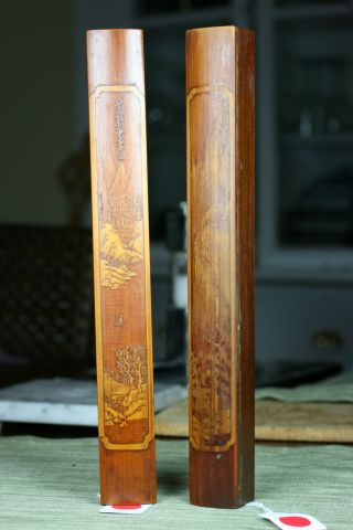 Rare Pair Of Chinese Hardwood Scroll Weights With Carved Bamboo On Top photo