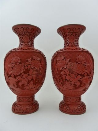 Pair Of Stunning Antique Chinese Carved Cinnabar Lacquer Floral Vases 10 Inches photo