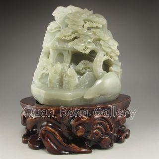 Chinese Hetian Jade Statue - Man & Pine Tree Nr photo