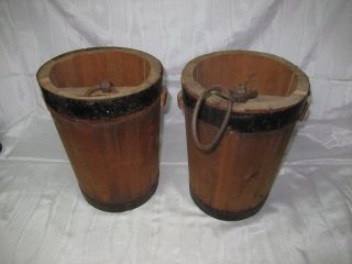 2 Antique Japanese Asian Oriental Wood W/ Metal Bands & Rings Water Buckets Pale photo