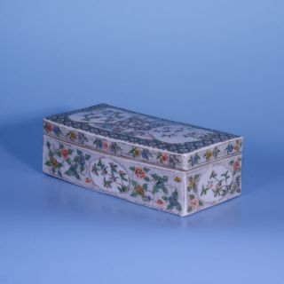 A Perfect 19th Century Chinese Porcelain Canton Famille Verte Box photo