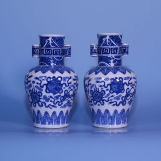 A Pair Perfect Chinese Porcelain Blue And White Marked Vases photo